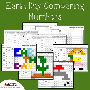 Earth Day Comparing Numbers Coloring Pages, Mystery Pictures