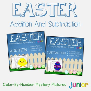 Easter Addition And Subtraction Color By Number Teaching Resources ...