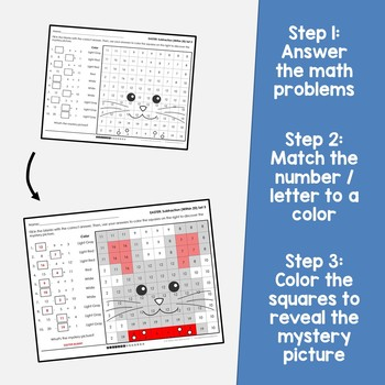 Easter Addition And Subtraction Coloring Sheets, Mystery Pictures