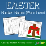 Easter Number Words Coloring Sheets, Mystery Pictures