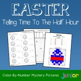 Easter Telling Time To The Half Hour Coloring Sheets, Mystery Pictures