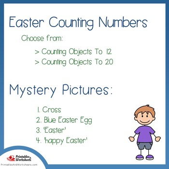 Easter Counting Numbers Coloring Sheets, Mystery Pictures
