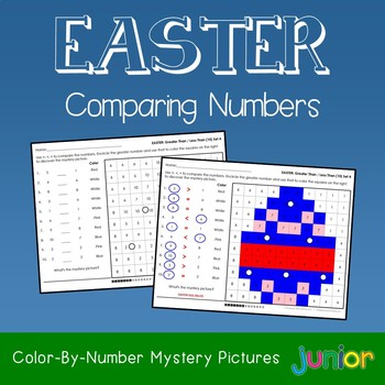 Easter Comparing Numbers Coloring Sheets, Mystery Pictures