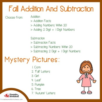 Fall Addition and Subtraction Coloring Sheets, Mystery Pictures