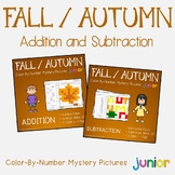 1st Grade Math Worksheet For Fall Addition And Subtraction Color By Number