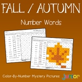 Fall Number Words Coloring Sheets, Mystery Pictures