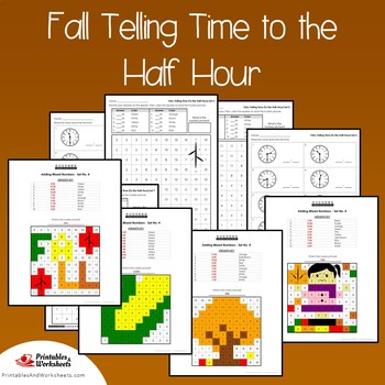 Fall Telling Time To the Half Hour Coloring Sheets, Mystery Pictures