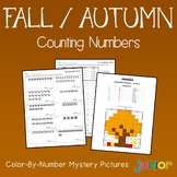 Fall Counting Numbers Coloring Sheets, Mystery Pictures