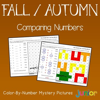 Fall Comparing Numbers Coloring Sheets, Mystery Pictures