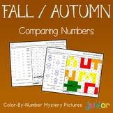 No Prep Math Worksheets, Fall Comparing Numbers Coloring Sheets