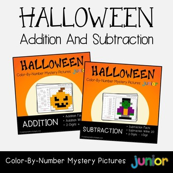Halloween Addition And Subtraction Coloring Sheets Mystery Pictures