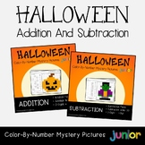 Halloween Addition And Subtraction Centers, Math Fact Coloring Worksheets