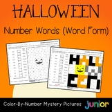 Halloween Number Word Color By Code Mystery Picture Activity Sheets