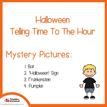 Halloween Telling Time To the Hour Coloring Sheets, Mystery Pictures