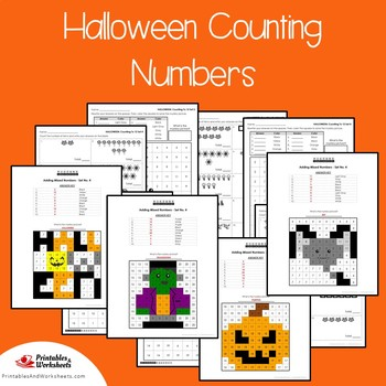 Halloween Counting Numbers Coloring Sheets, Mystery Pictures