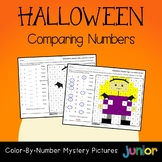 Hallowen Comparing Numbers Coloring By Number Mystery Picture Worksheets