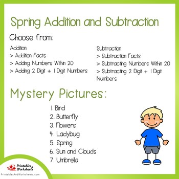 Spring Addition and Subtraction Coloring Sheets, Mystery Pictures
