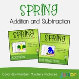 Spring Beginning Addition And Subtraction Hidden Picture Coloring Worksheets