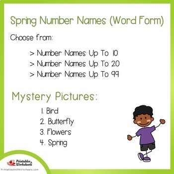 Spring Number Words Coloring Sheets, Mystery Pictures