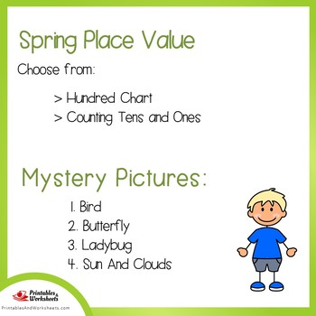Spring Hundreds Chart Coloring Sheets, Mystery Pictures