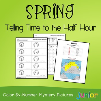Spring Telling Time to the Half Hour Coloring Sheets, Mystery Pictures