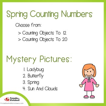 Spring Counting Numbers Coloring Sheets, Mystery Pictures