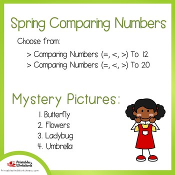 Spring Comparing Numbers Coloring Sheets, Mystery Pictures