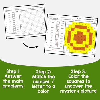 St Patricks Day Number Words Coloring Sheets, Mystery Pictures