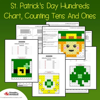 St Patrick's Day Hundreds Chart Coloring Sheets, Mystery Pictures