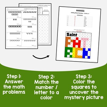 St Patrick's Day Counting Numbers Coloring Sheets, Mystery Pictures