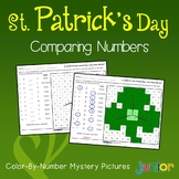 St Patrick's Day Comparing Numbers Coloring Sheets, Mystery Pictures