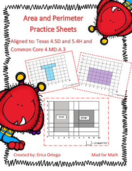 Area and Perimeter Practice Sheets 4.5D, 5.4H, 4.MD.A.3