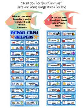 46 Classroom Jobs with Ocean Theme:  Editable