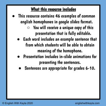 46 Common Homophone Examples For Google Slides