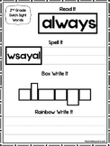 46 Dolch 2nd Grade Word Worksheets. Word Scramble, Box Write, Rainbow Write.