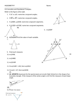 Worksheets Isosceles And Equilateral Triangles Worksheet 4 6 isosceles and equilater by mrs v teachers pay equilateral triangles ws