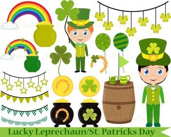 46 PNG Files- Lucky Leprechaun/St. Patricks Day-Clipart -Clip Art - 300 dpi 064