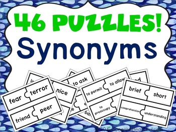 46 PUZZLES - Synonym Fun -- Just Print and Go! NO PREP