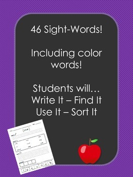 Reading, Sight words, high frequency words, pre-primer words, worksheets