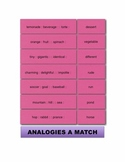 Analogies A Match Manipulatives & Task Cards