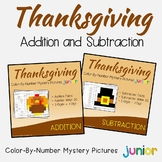 Thanksgiving Addition and Subtraction Coloring Sheets, Mystery Pictures