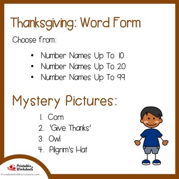 Thanksgiving Number Words Coloring Sheets, Mystery Pictures