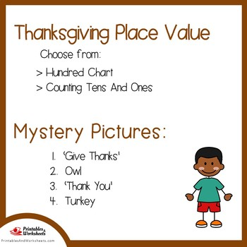 Thanksgiving Hundreds Chart Coloring Sheets, Mystery Pictures