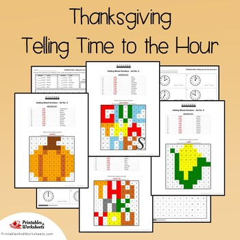Thanksgiving Telling Time To the Hour Coloring Sheets, Mystery Pictures