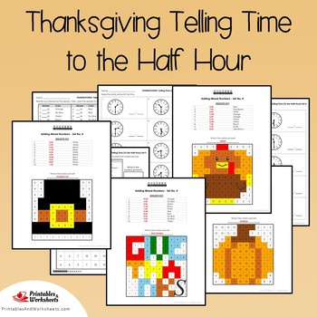 Thanksgiving Telling Time To the Half Hour Coloring Sheets, Mystery