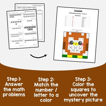 Thanksgiving Counting Numbers Coloring Sheets, Mystery Pictures