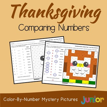 Thanksgiving Comparing Numbers Coloring Sheets, Mystery Pictures