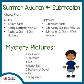 Summer Addition and Subtraction Color by Number, Addition Subtraction Summer