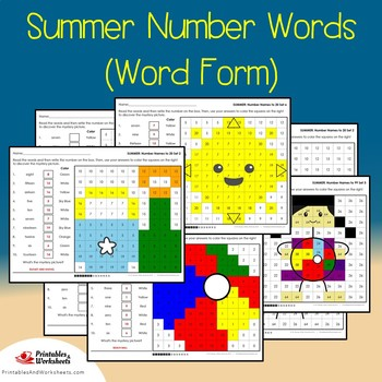 Summer Number Words Coloring Sheets, Mystery Pictures