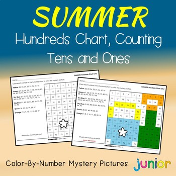 Summer Hundreds Chart Coloring Sheets, Mystery Pictures